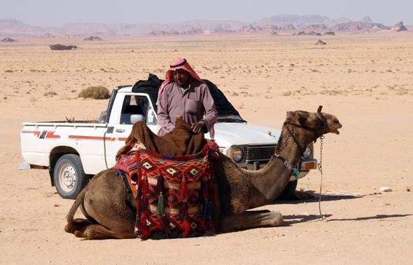 Kleine Verschnaufspaus für Dromedar und Beduine. (Foto Karsten-Thilo Raab)