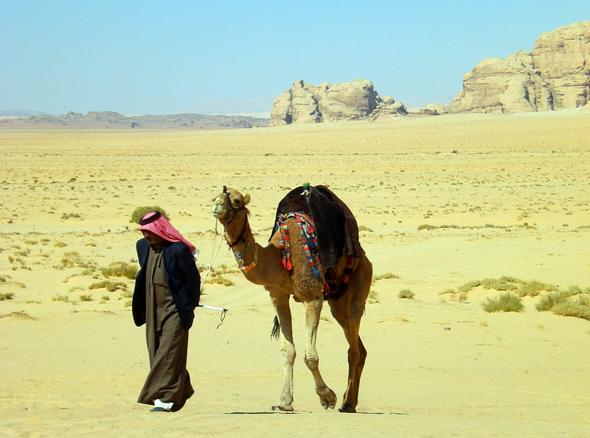 Ein Stück Bildbuch-Jordanien: Beduine mit Dromedar. (Foto Karsten-Thilo Raab)