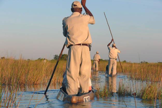 Mokoro-Safari führt mitten in die Wasserlandschaft des Okavango-Deltas. Foto djd/Botswana Tourism Organisationm