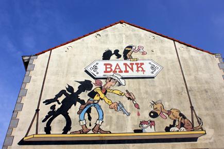 Comic-Wand in der Washuisstraat in Brüssel, Copyright Karsten-Thilo Raab