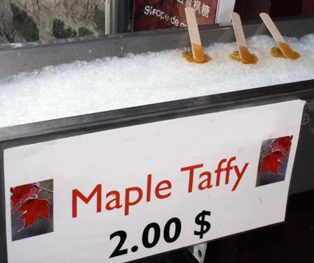 Mischung aus Ahorn-Lutscher und Eise: Der Maple Taffy. (Copyright Karsten-Thilo Raab)