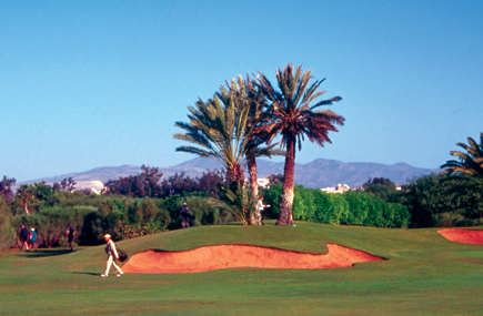 Palmegesäumter Golfplatz in Agadir