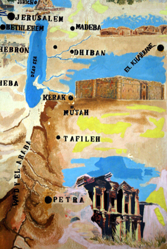 Handgemalte Jordanien-Karte. (Foto: Karsten-Thilo Raab)