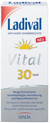 Ein Sonnenbad lässt sich sicher genießen mit der Ladival Vital Anti Aging Creme.