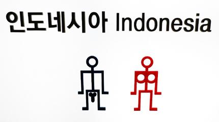 Toilettenschilder aus allen Teilen der Welt sind in der Ausstellung zu sehen. (Foto: Hae-woo-jae)