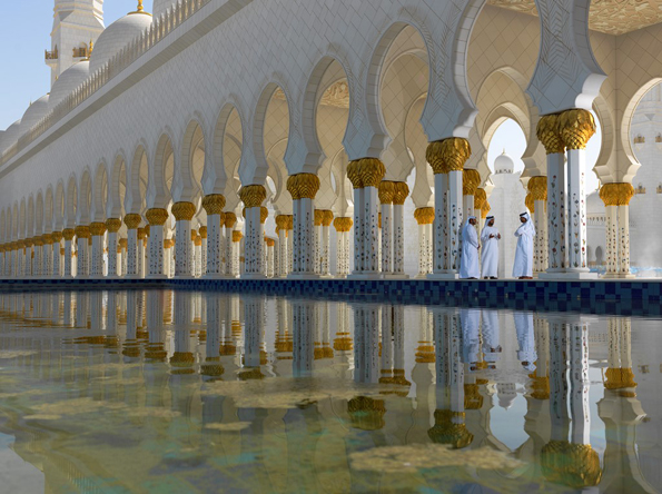 Die beliebteste Sehenswürdigkeit im Emirat Abu Dhabi: Die grandios Sheikh Zayed Moschee.