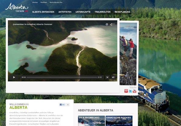 Übersichtlich und klar strukturiert: Die neue deutschsprachige Internetseite über Alberta.