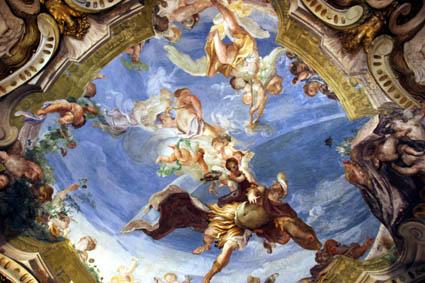 Prächtige Deckenmalerei im Palazzo Rosso. (Foto: Karsten-Thilo Raab)