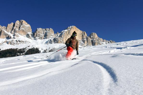 Am Puls der Natur: Zu Füßen von Rosengarten und Latemar finden Langläufer, Tourengeher und Schneeschuhwanderer viele stille Ecken. (Foto: djd)