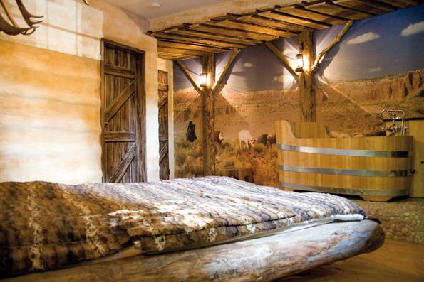 Rustikaler Western-Charme prägt die Jim Beam Log Cabin.