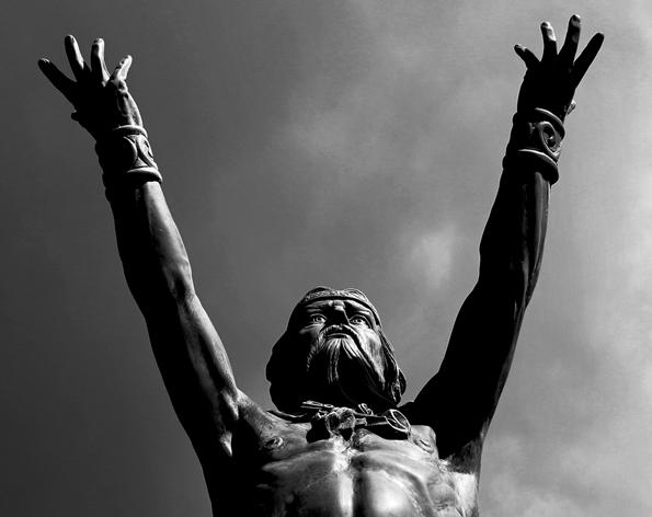 Gigant in Nordirland: Die Skulptur des Meergottes Manannan.