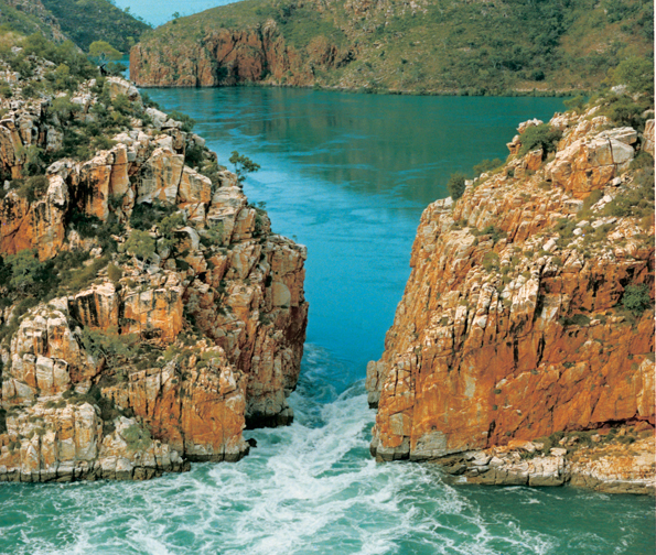 Ein kurioses Naturphänomen: Die Horizontal Waterfalls in Talbot Bay.