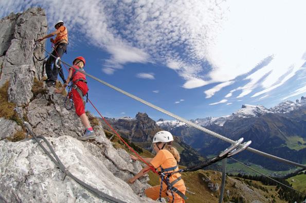 Der Klettersteig über das Brunnistöckli in Engelberg/Zentralschweiz ist ein Erlebnis für die ganze Familie. (Foto: Christian Perret)