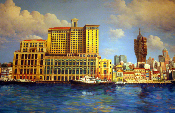 Im wahrsten Sinne des Wortes ein Bild von einer Stadt: Die gemalte Ansicht des Inner Harbour von Macau (Foto: Karsten-Thilo Raab)