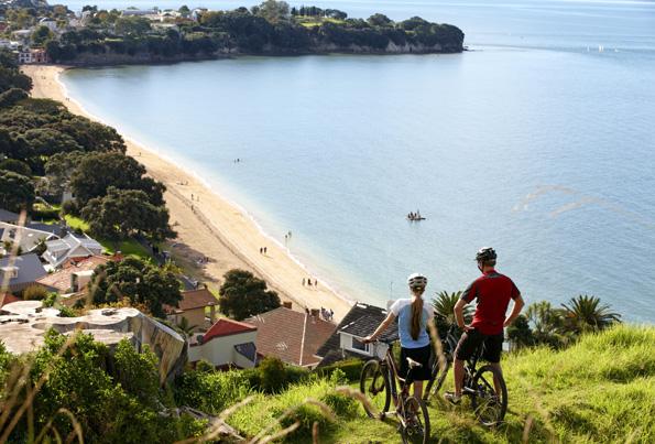 Stopp mit herrlicher Aussicht auf den Cheltenham Beach bei Auckland. (Fotos Tourism New Zealand)