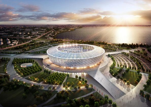 So soll das im Bau befindliche Olympia-Stadion in Baku nach seiner Fertigstellung im Jahr 2015 aussehen. (Foto Baku 2015 Organizing Committee)