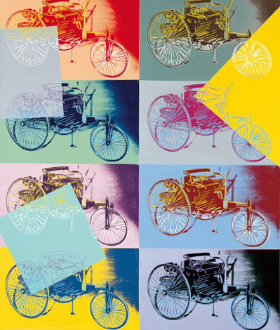 Noch ein Blickfang im MAC: Andy Warhols Benz-Patent-Motorwagen. (Foto: Daimler AG)