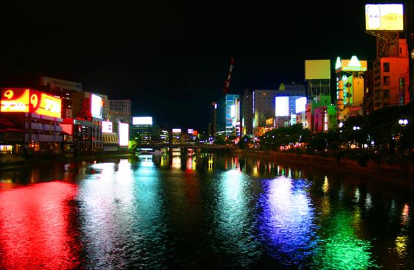 Stimmungsvoll: Der Naka-River in Fukuoka zu fortgeschrittener Stunde. (Foto: Karsten-Thilo Raab)