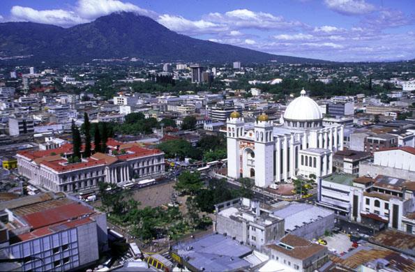 Das Centro Historico in San Salvador - El Salvador - aus der Vogelperspektive.