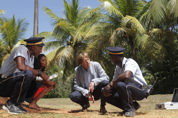 Dwayne (DANNY JOHN-JULES), Camille (SARA MARTINS), Humphrey (KRIS MARSHALL) and Fidel (GARY CARR)