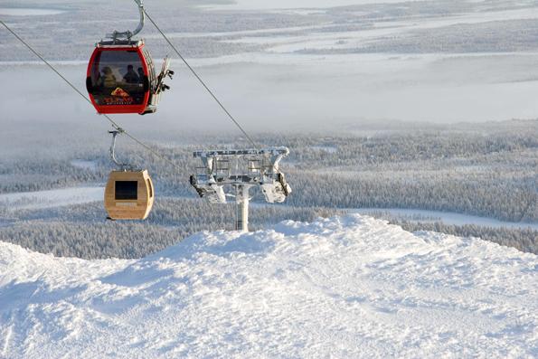 15 Minuten dauerte eine Fahrt mit der Saunagondel im finnischen Wintersportgebiet Yllästunturi.