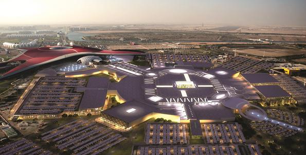 Die Yas Mall, unter deren Dach 300 Geschäfte angesiedelt sind, aus der Vogelperspektive.