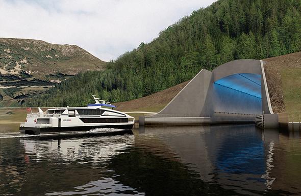Ein Entwurf des Eingangs zum Schiffstunnel am Moldefjord.  (Foto Appex/Kystverket)