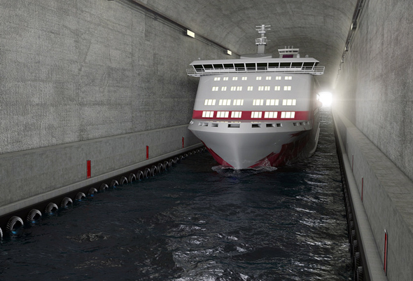 Selbst große Schiffe sollen den Tunnel mühelos passieren können. (Foto Appex/Kystverket)