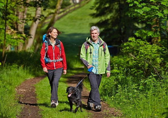 Ein Erlebnis für Mensch und Tier gleichermaßen: Für Wanderer mit Hund bietet die reizvolle Mittelgebirgslandschaft entlang der Weser viel Abwechslung. (Foto: djd)