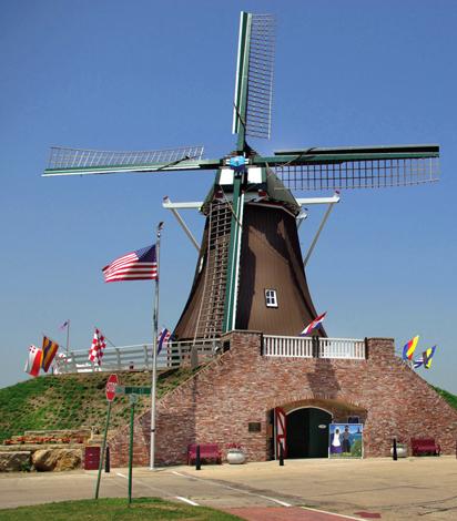 """Noch immer voll funktionsfähig: die historisch """"de Immigrant Windmill"""" in Fulton."""