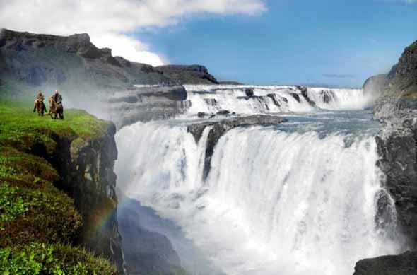 Der mächtige Gullfoss-Wasserfall - einer der vielen Naturphänomene auf Island. (Foto Icelandair)