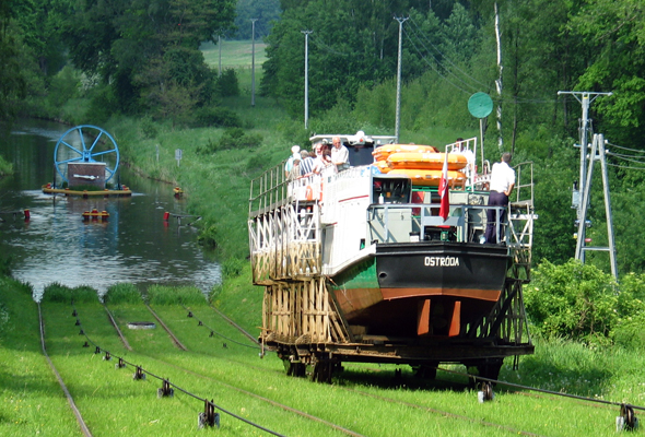 Mit Hilfe von Schienen meistern die Passagierschiffe auf dem Oberlandkanal insgesamt fünf Berge. (Foto: ZOE)