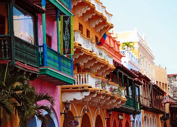 Ein echter Blickfang: die Casas Coloridas in Cartagena.