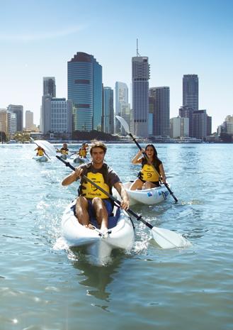 Bei einer Kajak-Tour auf dem Brisbane River öffnen sich ganz neue Perspektiven auf die Hauptstadt von Queensland.