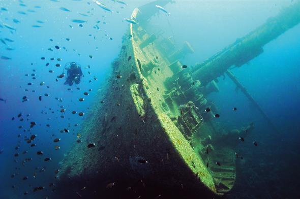 Taucher können vor Aqaba auch zu gesunkenen Schiff hinabtauchen.