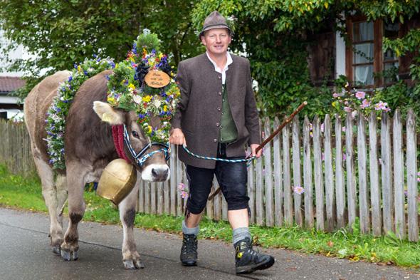 Mensch und Tier präsentieren sich in Pfronten im Allgäu in voller Tracht. (Foto M. Lukaszewski)