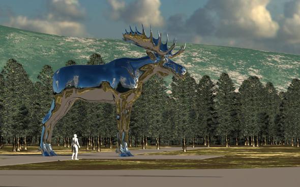Entwurf der Statue des größten Elchs der Welt auf dem Bjøråa-Rastplatz.