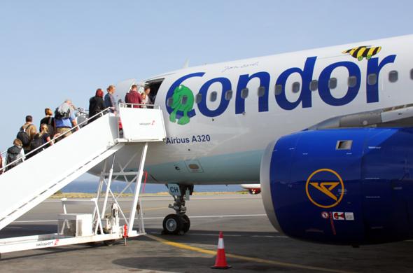 Condor geizt bei seinen Langstreckenfliegern mit dem Sitzabstand. (Foto Karsten-Thilo Raab)