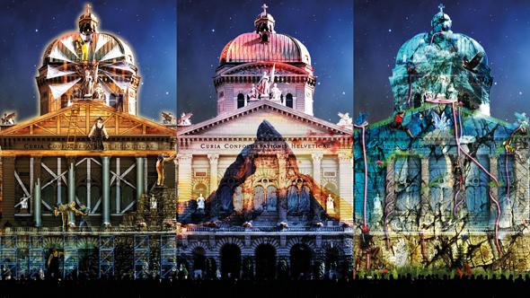 """Das """"Rendez-vous Bunderplatz"""" wandelt das Parlamentsgebäude im schweizerischen Bern mit Lichteffekten in das Matterhorn. (FotoStarlight Events)"""