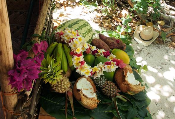 Stil-Leben auf Tonga - nur echt mit Kokosnus und Strohhut.