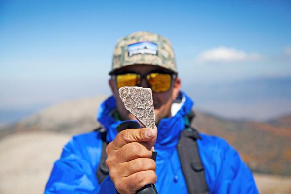 Steinernes Kuriosum: Ein Stück abgebrochener Fels in der Form von Nevada.