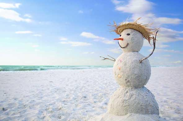 Ein Sandmann statt eine Schneemann/ findet sich auf Marco Island in Florida. (Foto Everglades CVB)