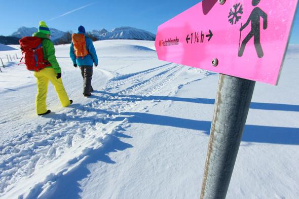 Gut ausgeschildert und gut präparieret sind die Winterwanderwege in und um Pfronten.