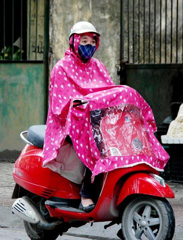 Auch bei Regen lassen sich die meisten Rollerfahrer nicht aus der Ruhe bringen.