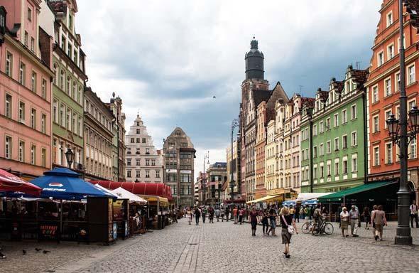 Charmante Häuserzeilen prägen das Bild der Breslauer Innenstadt.