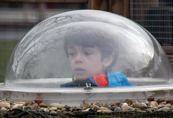 Die verglasten Glocken ermöglichen es den Kindern, Tiere aus nächster Nähe zu beobachten. (Foto Karsten-Thilo Raab)