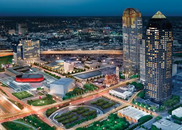 Nicht nur aus der Vogelperspektive überaus beeindruckend: der Dallas Arts District. (Foto Dallas CVB)