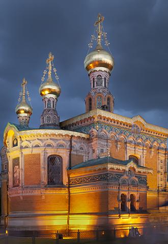 Die Russische Kapelle ist eines der spektakulären Gebäude auf dem Darmstädter Musenhügel. (Foto: Rüdiger Dunker)