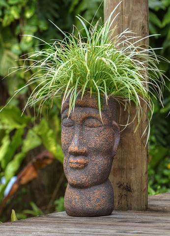 Ein bepfalnze Skulptur als ein Stück Alltagskultur auf Samoa.