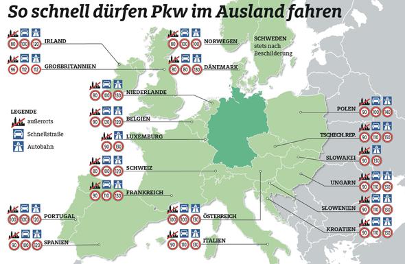 So schnell dürfen Pkw im Ausland fahren. (Foto ADAC)